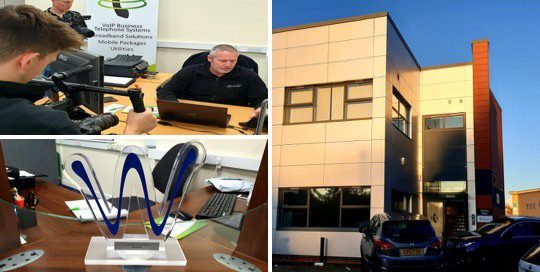 collage of images showing Wildix and ElemenTel Staff being interviewed, building pictured to the left.