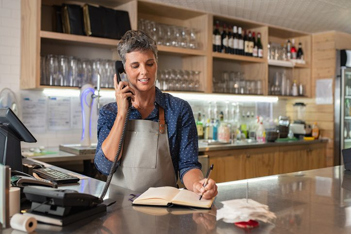 Restaurant phone system being used.