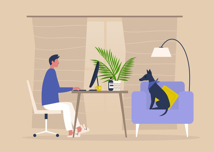 Human and dog using a work from home phone system from ElemenTel.